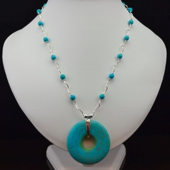 Turquoise and Sterling Silver Necklace with Turquoise Donut Pendant