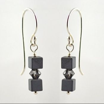 Hematite and Crystal Earrings (Crystal Silver Night)