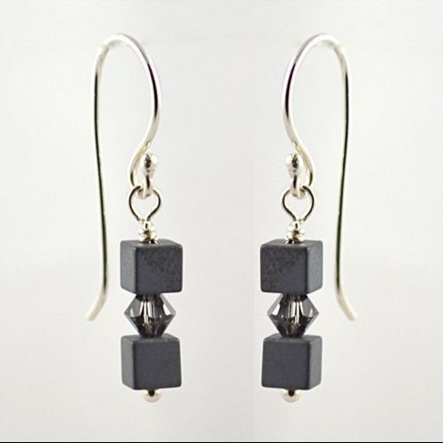 Hematite and Swarovski Crystal Earrings (Crystal Silver Night)