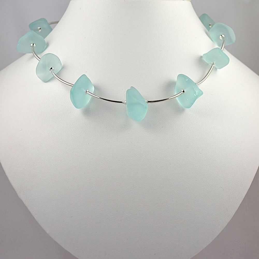 Aqua Glass Chips and Sterling Silver Necklace