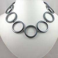 Hematite Rings and Sterling Silver Necklace