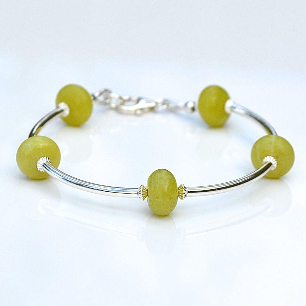 Olive Jade and Sterling Silver Bracelet