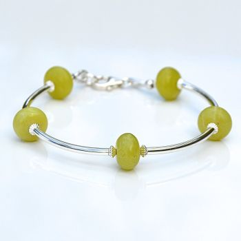 Olive Jade and Sterling Silver Bracelet