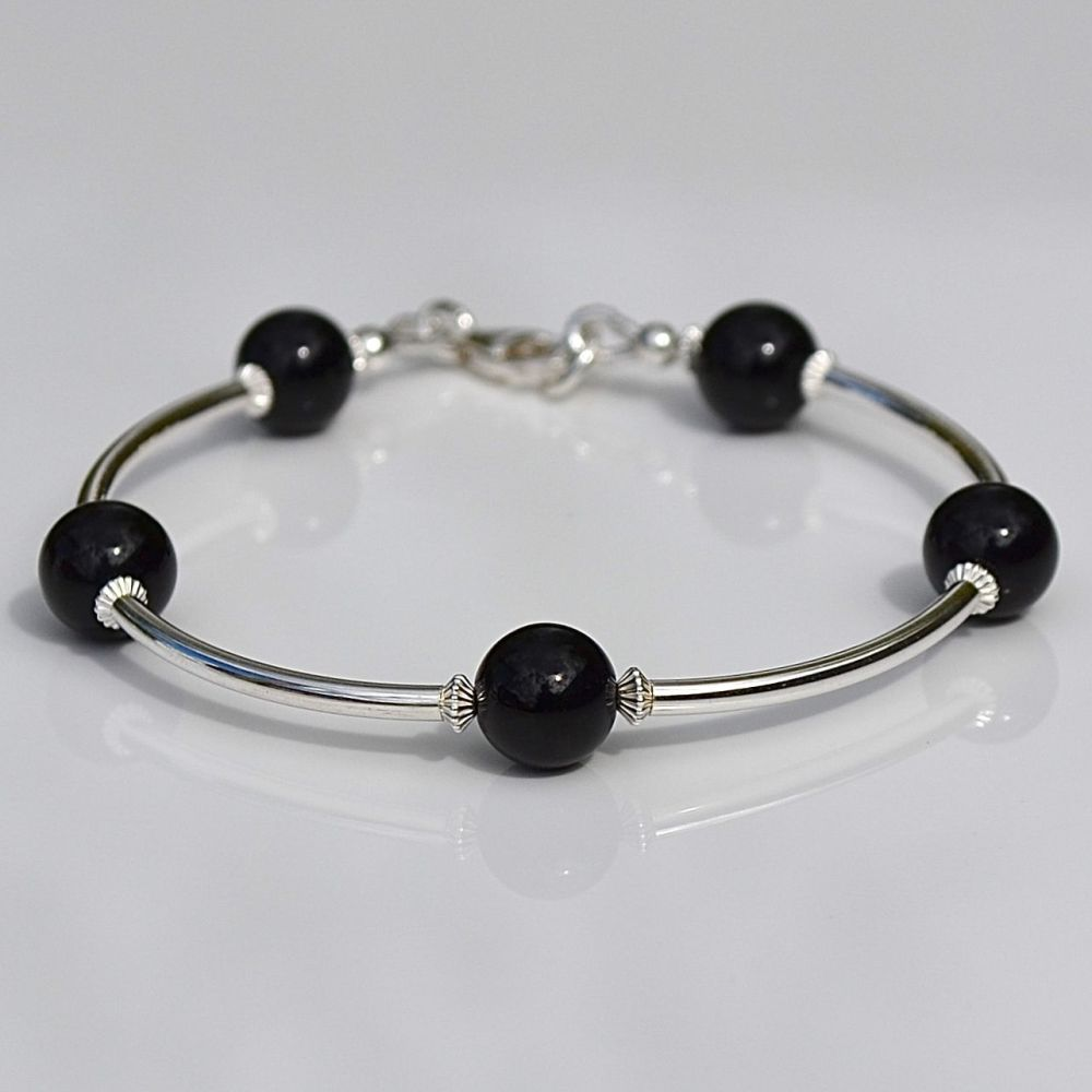 Black Agate and Sterling Silver Bracelet