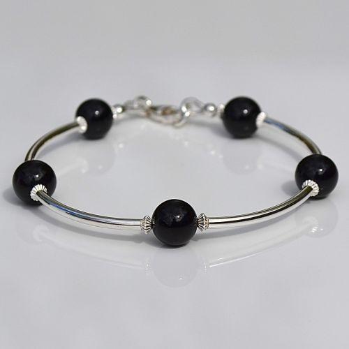 Black Agate and Sterling Silver Bracelet