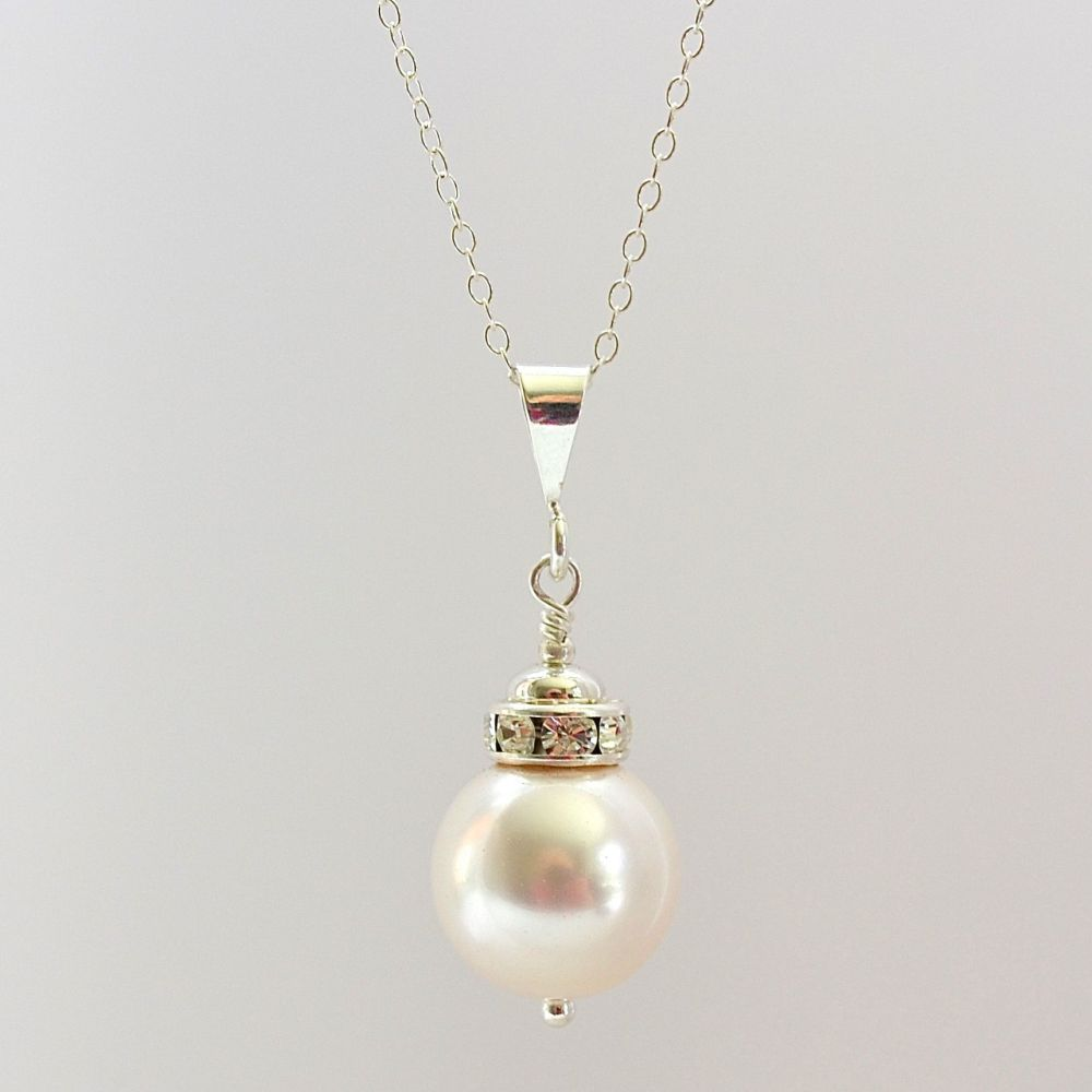 Crystal Pearl and Sterling Silver Pendant (White)