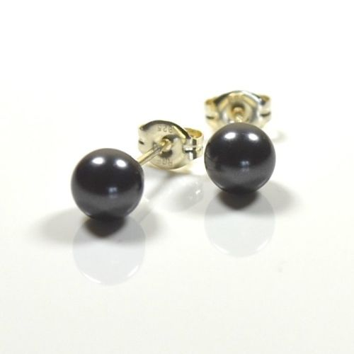Classic Crystal Pearl Stud Earrings (Black)