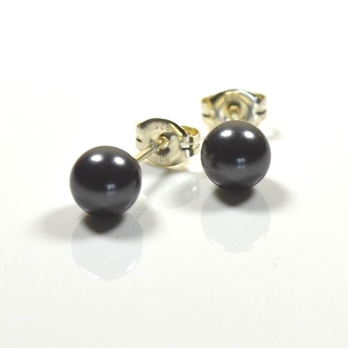 Classic Crystal Pearl Stud Earrings (Black)