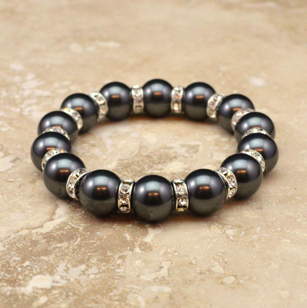 Crystal Pearl Bracelet (Black)