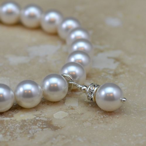 Small Crystal Pearl Bracelet, with Charm (White)