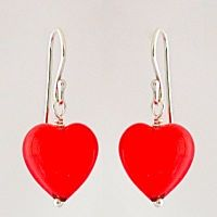 Orange Coral over White Core Murano Glass Heart Earrings