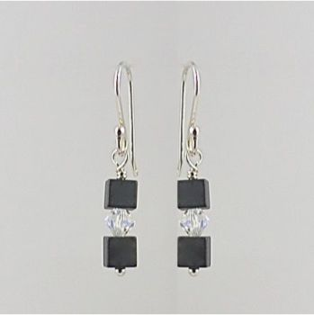Hematite and Crystal Earrings (Crystal AB)