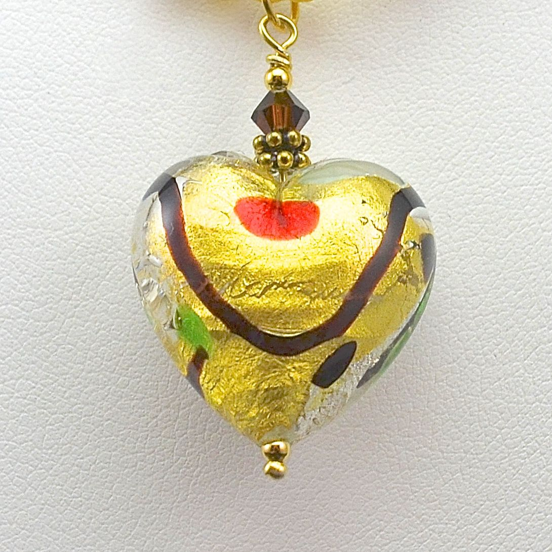 Harlequin and Vermeil - Murano Heart Pendant