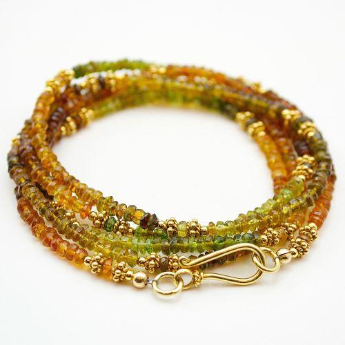 Tourmaline and Vermeil Necklace (or multi-wrap bracelet)