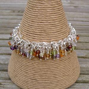 Multi Gemstone and Silver Bracelet