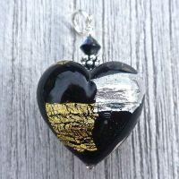 Midnight Treasure Murano Glass Heart Pendant with Sterling Silver Chain