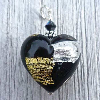 Midnight Treasure Murano Glass Heart Pendant