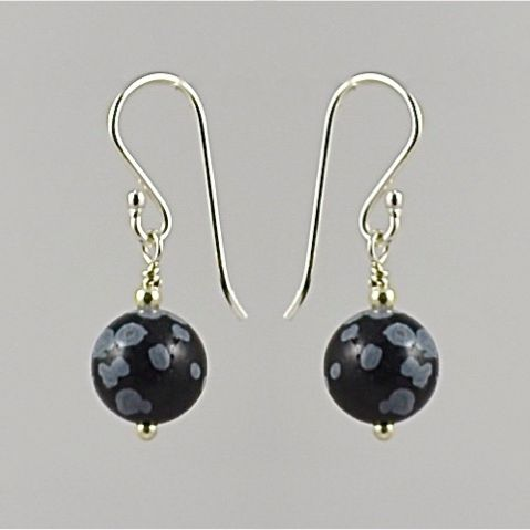 Snowflake Obsidian And Sterling Silver Earrings