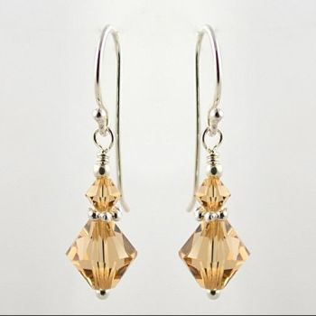 Swarovski Crystal with Daisy Earrings (Light Colorado Topaz)
