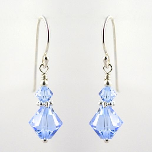 Swarovski Crystal with Daisy Earrings (Light Sapphire)