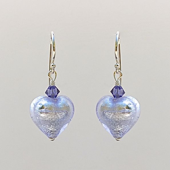 Alex Silver Murano Glass Heart Earrings