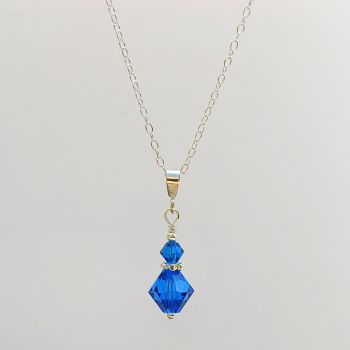 Crystal and Sterling Silver Pendant (Capri Blue)