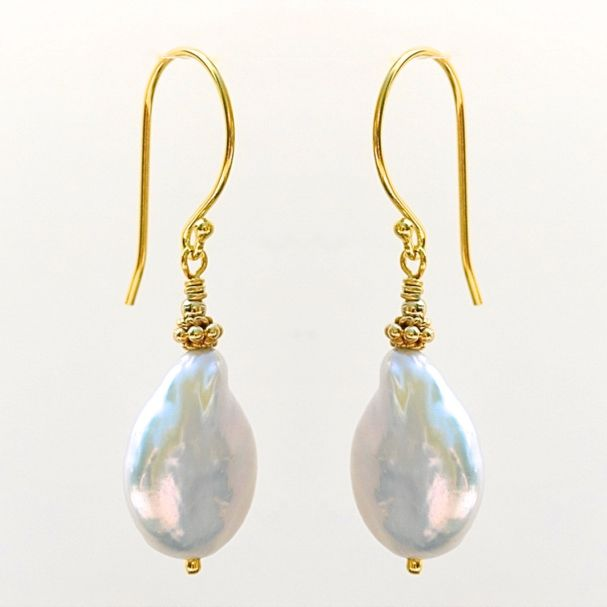 White Coin Pearl and Vermeil Earrings