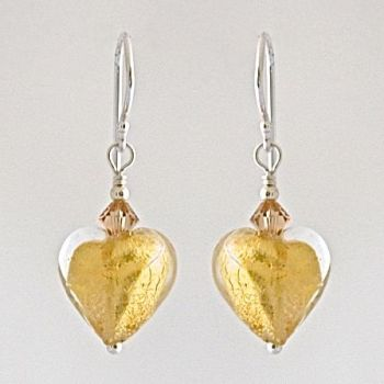 Crystal Gold Murano Glass Heart Earrings