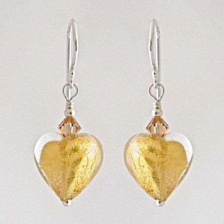 Crystal Gold Murano Glass Heart Earrings