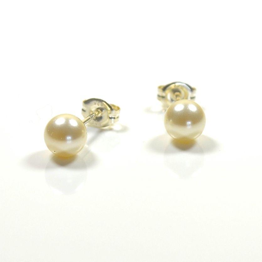 Classic Pearl Stud Earrings 6mm - Cream