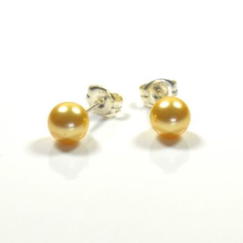 Classic Crystal Pearl Stud Earrings 6mm - Gold