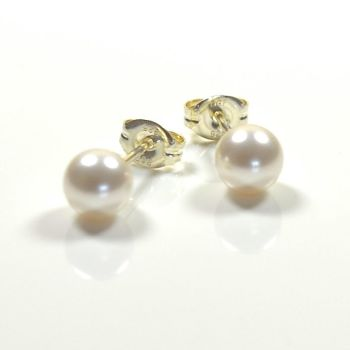 Classic Crystal Pearl Stud Earrings 6mm - White