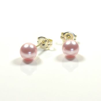 Classic Crystal Pearl Stud Earrings 8mm (Rosaline)