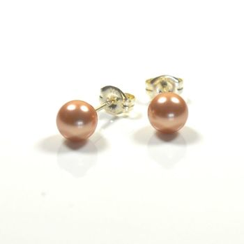 Classic Crystal Pearl Stud Earrings 8mm (Rose Gold)