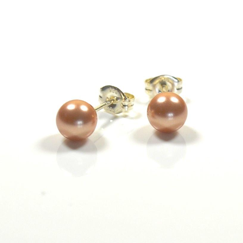 Classic Pearl Stud Earrings 8mm (Rose Gold)