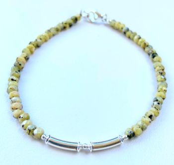 Dalmatian Jasper and Sterling Silver Bracelet