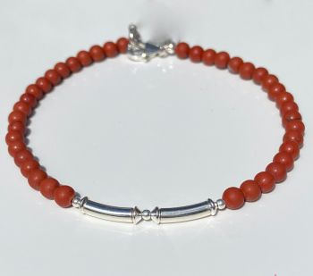 Red Jasper and Sterling Silver Bracelet