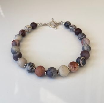 Men's Porcelain Jasper and Silver Bracelet