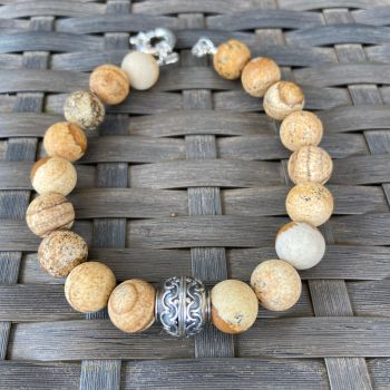 Men's Picture Jasper and Silver Bracelet