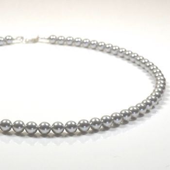 Classic Crystal Pearl Necklace - length 16 inch (Light Grey)