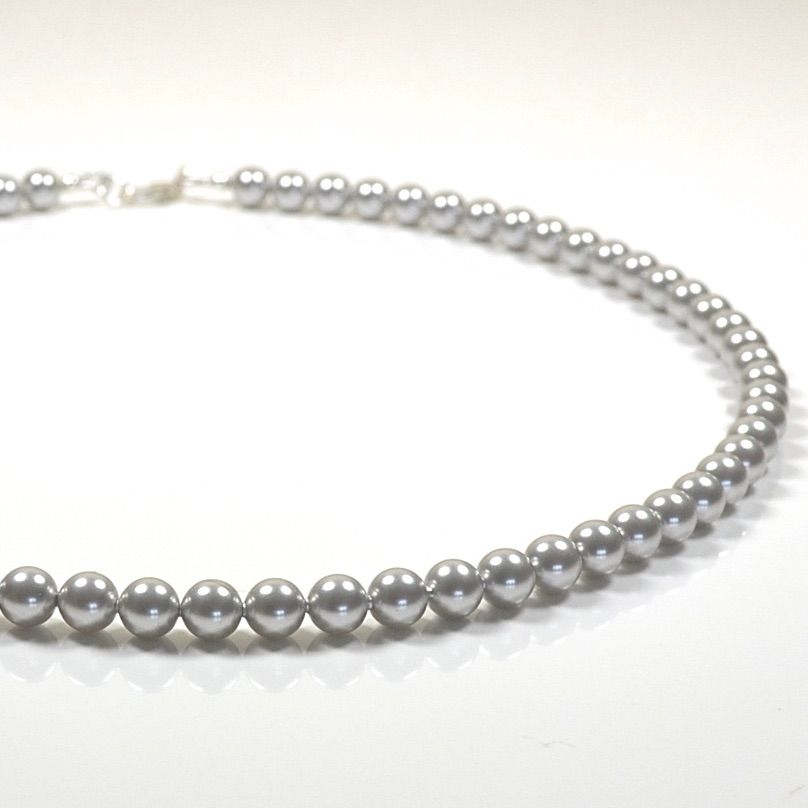 Light Grey Classic Crystal Pearl Necklace  (length 16 inch)
