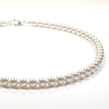 Classic Crystal Pearl Necklace - length 16 inch (White)