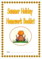 KS2 Summer Holiday Activity/Homework Booklet