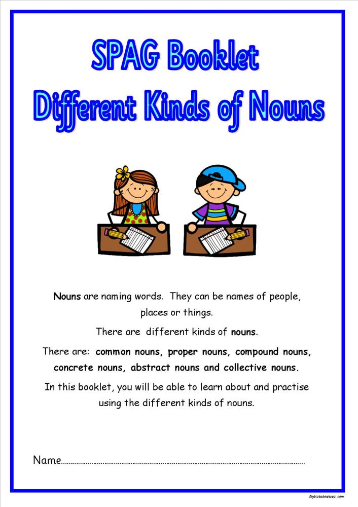 KS2 SPAG activity booklet focusing on the various noun types.