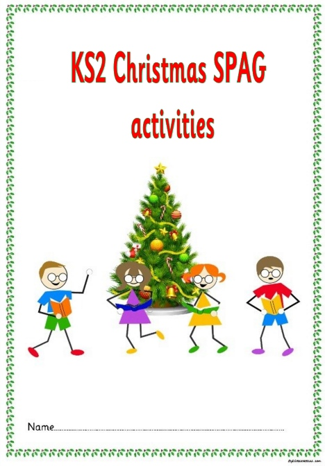KS2 Christmas SPAG activity booklet. A highly topical set set of spelling,