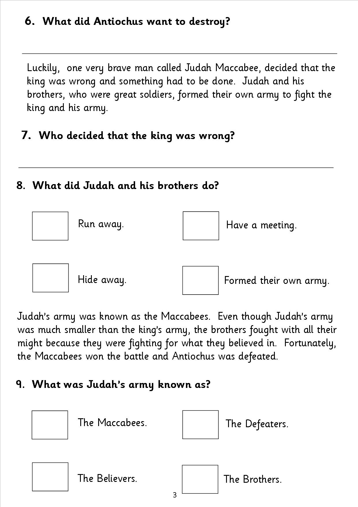 Worksheets Hanukkah Worksheets eyfs ks1 sen hanukkah chanukka reading comprehension sats comp4