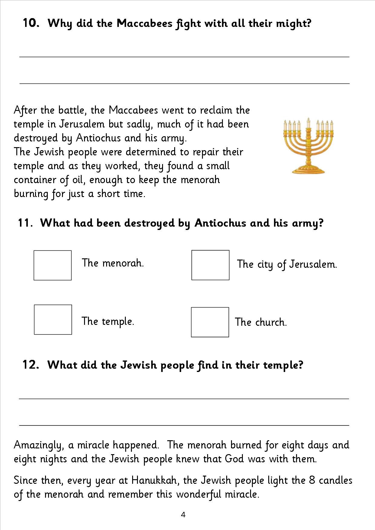Worksheets Hanukkah Worksheets eyfs ks1 sen hanukkah chanukka reading comprehension sats comp5