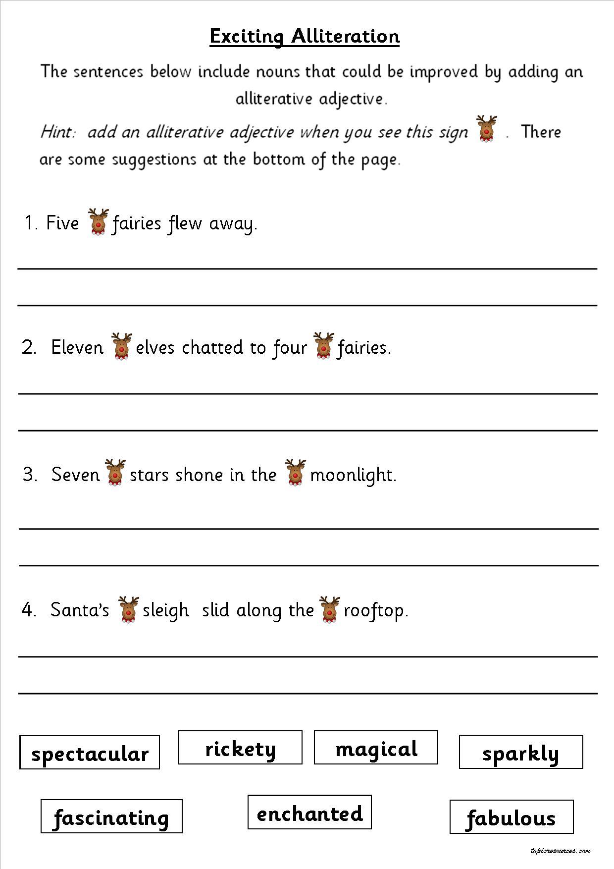 Worksheet Adjectives Worksheets Ks1 ks1 ks2 sen ipc christmas spag activity booklets guided activities at christmas4