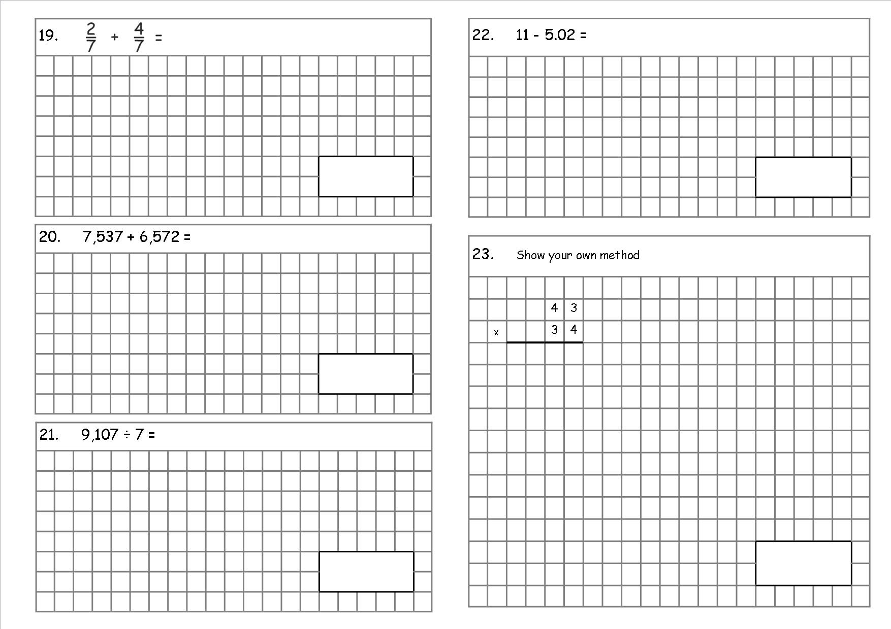 KS2, Year 6 SATs style arithmetic test (a teaching