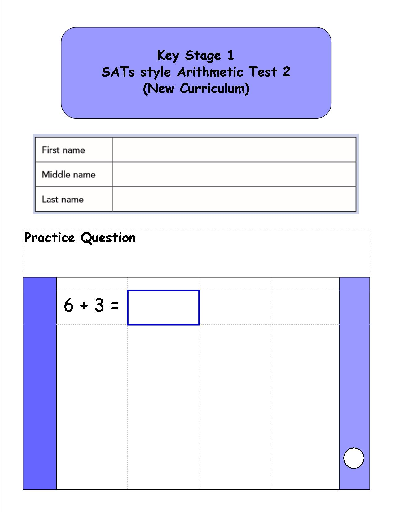 ks1 year 2 sats style arithmetic booklet made with new. Black Bedroom Furniture Sets. Home Design Ideas